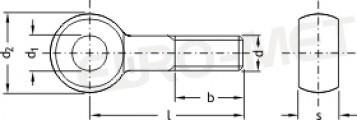 Śruba oczkowa z gwintem na części trzpienia TYP-A