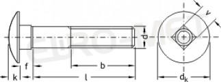 Śruba z łbem grzybkowym z podsadzeniem kwadratowym /ZAMKOWA/